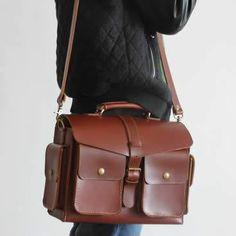 Vintage Handmade Leather Tote Briefcase Messenger Bag / Case