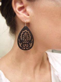 mini black garden-carved/cut wood earrings, matte black