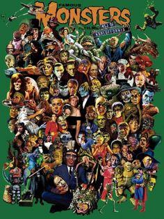 Foto-montagem com os mais famosos personagens dos filmes de terror e fantasia.