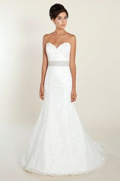 Lace, fit and flare gown with Swarovski beaded belt