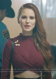 Cheryl's burgundy crop top on Riverdale.  Outfit Details: https://wornontv.net/67261/ #Riverdale