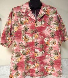 Terrific Cotton Hawaiian shirt! Hilo Hattie Red Hawaiian Aloha Shirt Size XL Flowers Palms Beach Boats Wahine #HiloHattie #Hawaiian