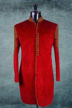 #Red #velvet embossed Indo-Western #sherwani -IW145