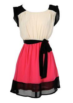 Colorblock Hot Pink and Black Chiffon Dress