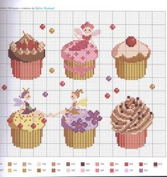 "cross stitch Agenda 2012 ""Gourmandises"" cupcakes with colour key"