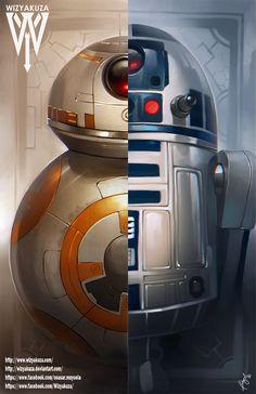 BB-8 y Split de droide R2D2 - Star Wars: la fuerza despierta - impresión Digital de 11 x 17