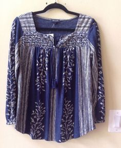 NWT LUCKY BRAND WOMEN'S MULTI-COLOR LINEN/RAYON LONG SLEEVE BLOUSE SIZE M #LuckyBrand #Blouse