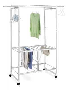 "Laundry Dryer Station - Aluminum Dimensions: 49.5""W x 23.25""D x 63.5""H Material: Aluminum Color: Silver Adjustable Hanging Rods Includes Accessory Clips and Hanging Rods Bottom Drying Rack for flat it"