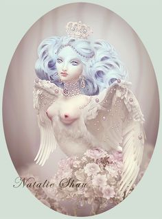 Alkonost by *NatalieShau   The Alkonost is a legendary bird in Slavic mythology. It has the body of a bird with the head and chest of a woman. For the Russian Orthodox Church Alkonost personifies God's will. She lives in paradise but goes into our world to deliver a message. Her voice is so sweet that anybody hearing it can forget everything