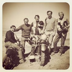 Cool old times... Steve McQueen and the other big racing names from the 70's chill out on the dunes