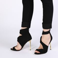 Tera Stiletto Heels in Black Faux Suede
