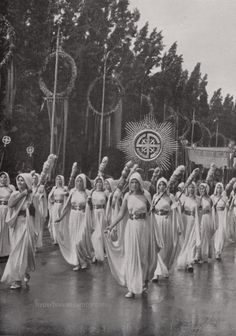 """"""" Germanic women accompanying the symbol of the Sun. Just as the Swastika was a sacred rune to our ancestors, it is a holy symbol for us too. Part of the procession years of German culture"""" that took place in Munich, on the. German Girls, German Women, Thule Society, Aryan Race, Holy Symbol, Nazi Propaganda, Germanic Tribes, The Third Reich, Vintage Photographs"""