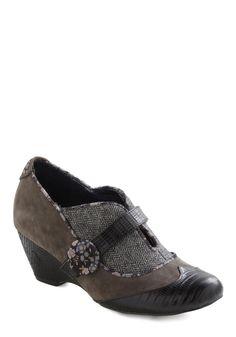Irregular Choice Charcoal or Texture Me Heel | Mod Retro Vintage Wedges | ModCloth.com $149.99  size 6.5