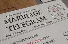 Telegram Wedding Invitation  Letterpress by pistachiopress on Etsy, $5.00 - very cute