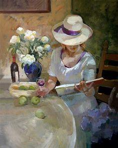 "Daily Paintworks - ""Peonies and wine"" - Original Fine Art for Sale - © Sally Rosenbaum"