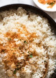 Overhead close up photo of rice made with coconut milk Rice Recipes, Asian Recipes, Whole Food Recipes, Cooking Recipes, Healthy Recipes, Ethnic Recipes, Cooking Pork, Chinese Recipes, Coconut Rice