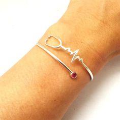 Nurse Registered Heart Beat Stethoscope Bracelet EKG by yhtanaff I love this bangle and it's handmade. Great gift idea for Nicu, BSN, LPN, Nurse Graduation.