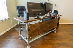 Wood Paneled Industrial Pipe Desk