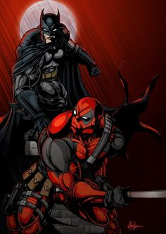 Batman vs Deadpool by Saxon-Blake on DeviantArt Comic Book Characters, Comic Book Heroes, Marvel Characters, Comic Character, Comic Books, Dc Comics Vs Marvel, Dc Comics Art, Marvel Dc Comics, Superman