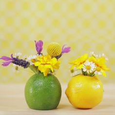 Use Fruit as Flower Vases