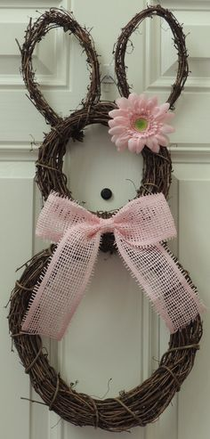Pink Grapevine Bunny Wreath Easter wreath by SparkleWithDesigns