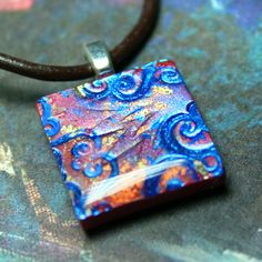 Autumn Sky  Faux Dichroic Polymer Clay And by purplecactusstudios