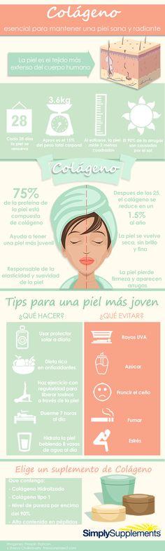 #Infografia - Colágeno marino, aporta elasticidad y tonifica la piel. #pielsana…
