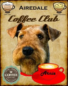 Airedale Terrier Dog Art Coffee Poster 11x14 Personalized* Your Dogs Name in Arte, Direto do artista, Gravuras/impressões | eBay
