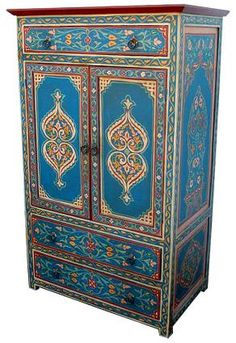 hand painted indian bedside cabinet household thangs pinterest meubles meubles peints et. Black Bedroom Furniture Sets. Home Design Ideas