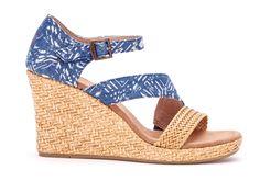 undefined Blue Batik Textile Women's Wrapped Clarissa Wedges