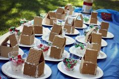 """Toddler Christmas party - decorating graham cracker """"gingerbread houses."""" :) well that's enough to make me want to have a glass of whine! Toddler gingerbread houses?????? :) :)"""