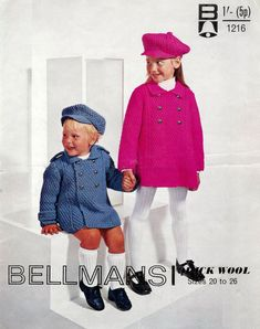 Children's  QK 8ply Coat and Cap 20-26ins - Bellmans 1216 - pdf of Vintage Knitting Patterns