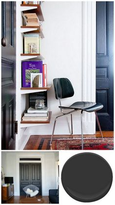 """Benjamin Moore """"Onyx"""" on doors in the apartment - colour chip and how it looks from Manhattan Nest"""