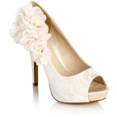 Ivory ruffled corsage court shoes