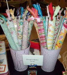 Altered rulers - clear rulers backed with various designer series paper