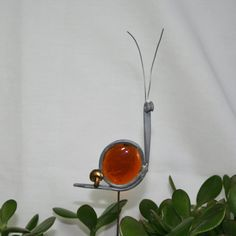 Stained Glass Amber Snail Plant Stake Garden by ShellysGlassStudio, $6.50