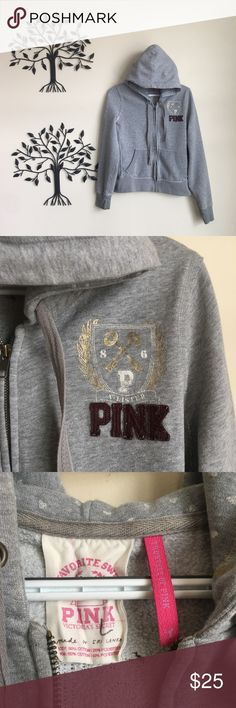 PINK Victoria Secret My Favorite Sweats Zip Up Extremely Nice Condition Victoria Secret Pink Zip Up Hoodie  A-Listers My Favorite Sweats Full Zip Hoodie   Size Is Large  Color is Grey With PINK Patch Logo Embroidered On The Front Chest And Big Embroidery On The Middle Back PINK Victoria's Secret Tops Sweatshirts & Hoodies