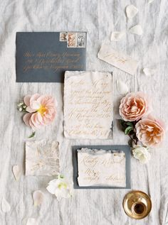 These vintage invitations, which featured slate gray envelopes and gold calligraphy, still evoke an antique feel with their somewhat masculine colors. wedding invitations The Prettiest Vintage-Inspired Wedding Invitations Beach Wedding Invitations, Vintage Wedding Invitations, Wedding Stationary, Vintage Weddings, Event Invitations, Wedding Envelopes, Vintage Bridal, Old School Wedding, Elegant Backyard Wedding