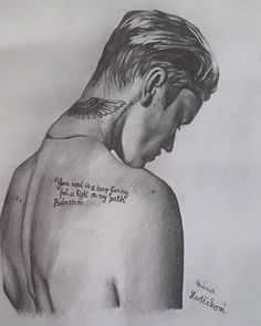 Very poetic drawing of Justin Bieber :D ♥