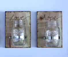 2 Custom Mason Jar Wall Vases/ Sconces -