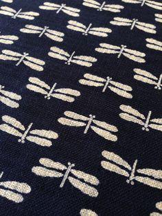 Sevenberry dragonfly tombo navy indigo blue Japanese cotton fabric