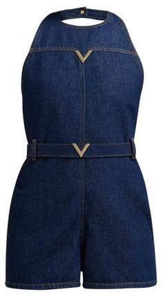 de614b0940 Valentino V Plaque Halterneck Denim Playsuit - Womens - Denim