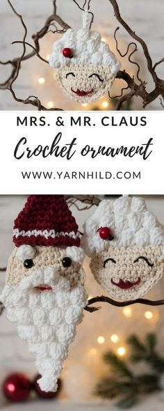 Free pattern for this cute Christmas ornaments for Mr. and Mrs. Claus