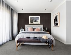 dark bedroom wall with pink and sofa grey bedding in coastal theme and sheer cur… – 2019 - Curtains Diy Dark Grey Carpet Bedroom, Charcoal Bedroom, Dark Bedroom Walls, Dark Grey Walls, Gray Bedroom, Grey Bedding, Bedroom Carpet, Modern Bedroom, Master Bedroom