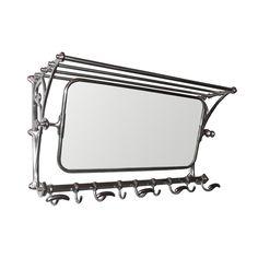 Pewter luggae rack and mirror - Vintage railway luggage rack with coat hooks and hall mirror.