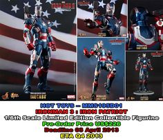 Hot Toys MMS195D01 (1/6th scale)  Iron-Man 3 : IRON PATRIOT  PO Price US$226  Deadline 03 April 2013  ETA Q4 2013