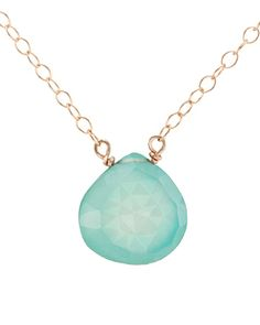 Mint Chalcedony Gold Necklace
