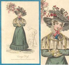 1827 carriage dress Regency antique fashion print Lady's Magazine bonnet gown