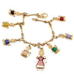 POMELLATO Chalcedony Snow White and Seven Dwarves Yellow Gold Charm Bracelet | From a unique collection of vintage charm bracelets at http://www.1stdibs.com/jewelry/bracelets/charm-bracelets/