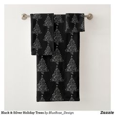 Black & Silver Holiday Trees Bath Towel Set Bath Towel Sets, Bath Towels, Holiday Tree, Christmas Items, Holiday Outfits, Christmas Card Holders, Black Silver, Keep It Cleaner, Colorful Backgrounds